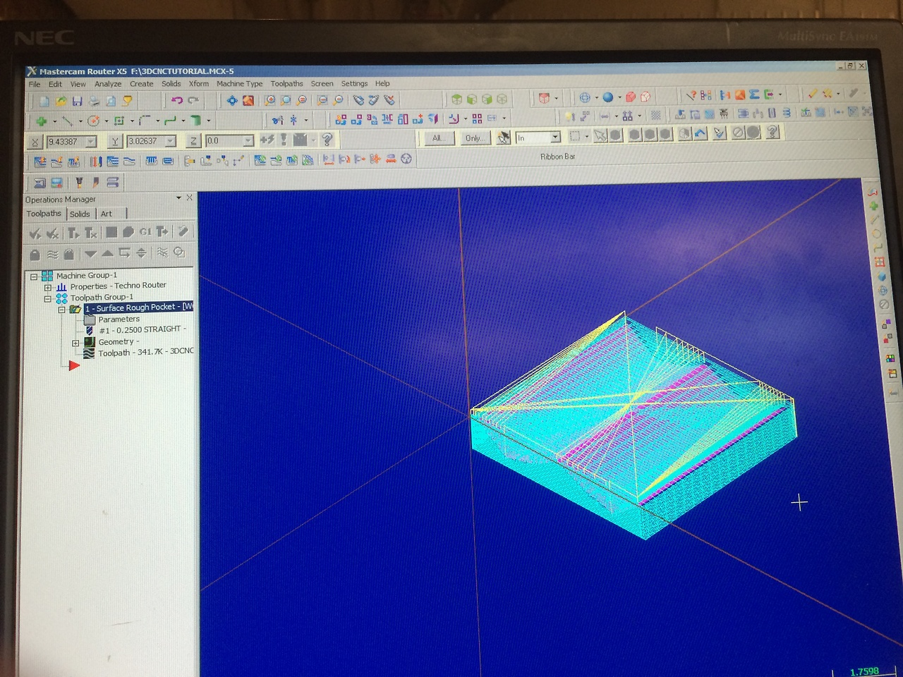 MasterCam toolpaths in preperation for Pocketing/Advanced CNC workshop With Hannah Mishin
