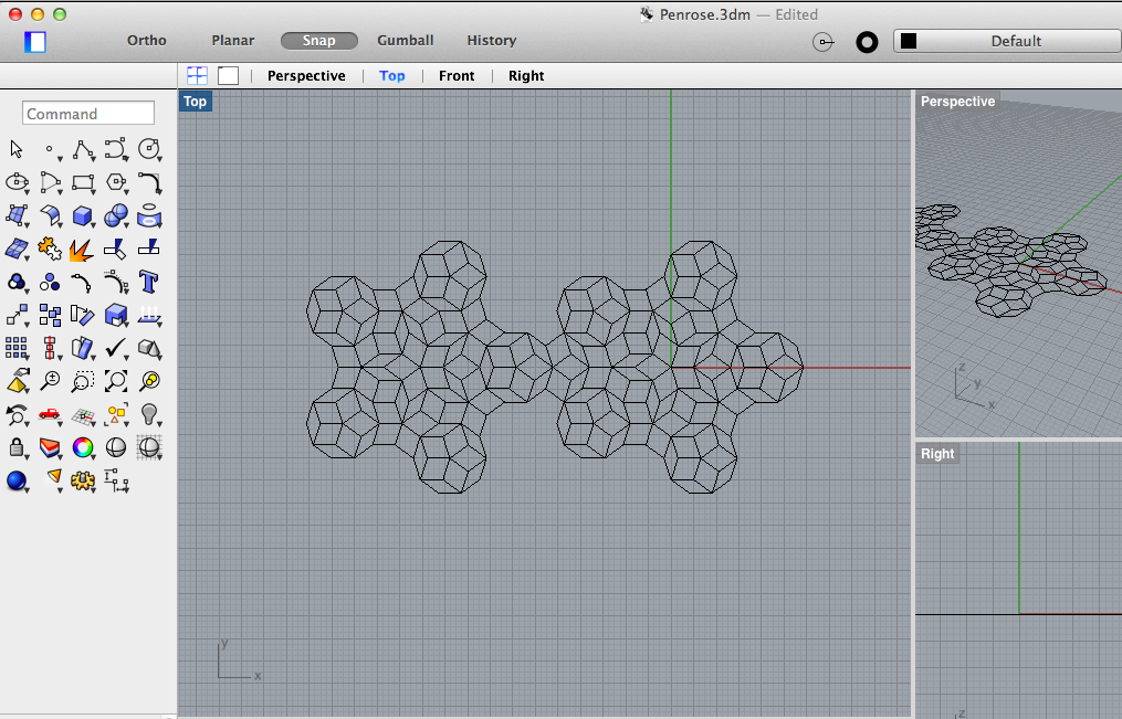 Penrose tiling in Rhino — forgetting the rules I cut and pasted the two forms only to remember that it won't tile!