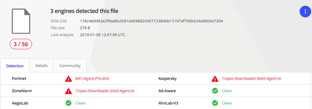 https://www.virustotal.com/#/file/176c4ddd83e2f9ad8cd581d4098824307733840b15197af790bb34a66b0e7294/detection