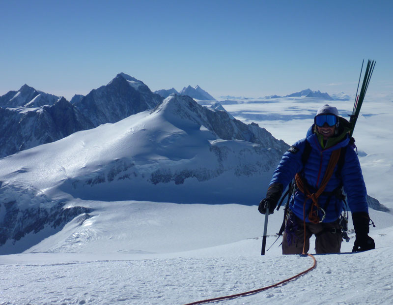 Topping out on Mt Vinson 4892m, Antarctica