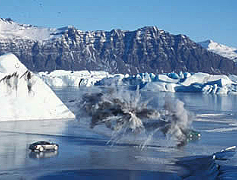 """Many facets of our skill set came into playduring the filming of James Bond """"Die Another Day"""", from our expertise insea/lake ice operations to iceclimbing foranchoring cables onthis SFX ballistics scene."""