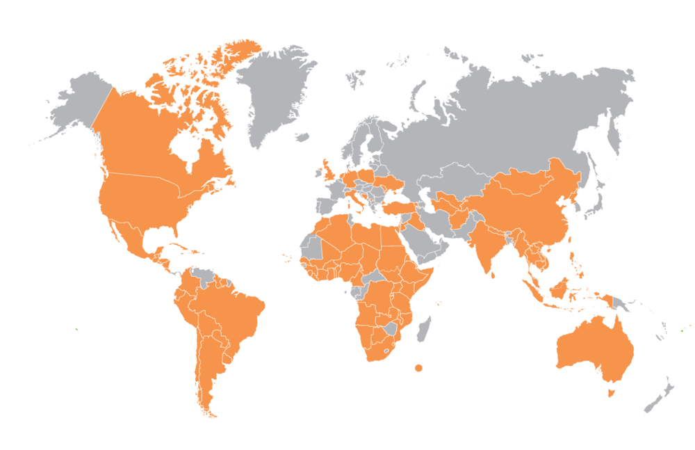 Map from oneworldplayproject.com depicts areas where One World Futbols have been donated.