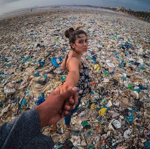A beach in India, via @plasticpollutes on Instagram