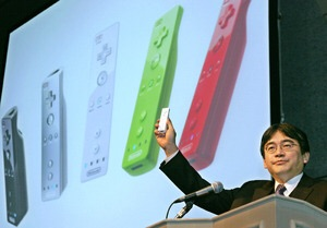 Iwata showing off the Wii remote
