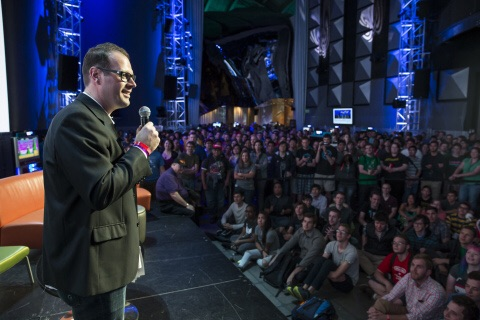 In this photo provided by Nintendo of America, hundreds of fans gather at Sky Church inside EMP Museum in Seattle on Aug. 27, 2015, to watch a developer presentation during Nindies@Night, an exclusive Nintendo event. Attendees were able to play and learn about new and upcoming independent games appearing on Wii U and Nintendo 3DS systems.