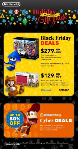 Major retailers nationwide will be offering heaps of great deals on some of Nintendo's most popular games and systems for the holidays. (Photo: Business Wire)