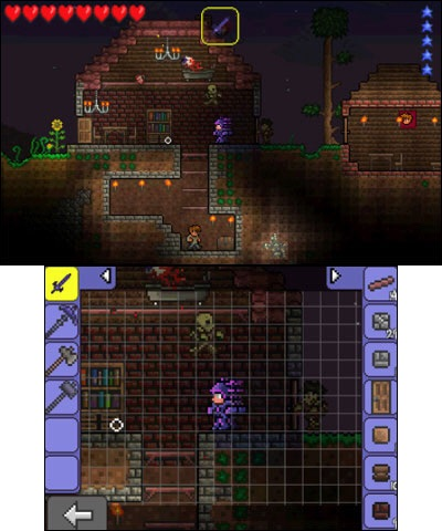 Reach directly into the world of Terraria using the touch-screen interface of the Nintendo 3DS system. (Photo: Business Wire)