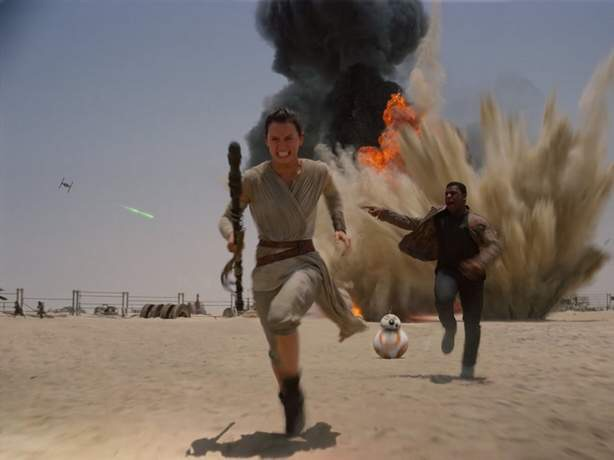 "Lucasfilm Daisy Ridley, John Boyega and BB-8 flee from a blast in ""Star Wars: Episode VII — The Force Awakens."" The two-dimensional version of the blockbuster film leaps into 3D under the auspices of Cedar Rapids native Aaron Parry, executive vice president and chief creative officer at Stereo D in Burbank, Calif."