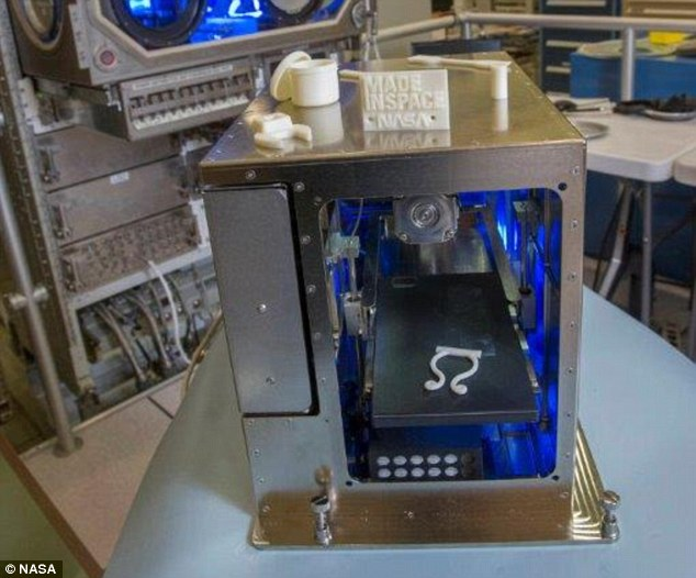 A 3D printer is making its way to the International Space Station today. This image of the printer was taken in April 2014 during testing and the goal is to see if 3D printing works the same in microgravity as it does on Earth. It is one of many science experiments making its way to the ISS on board the Cygnus capsule