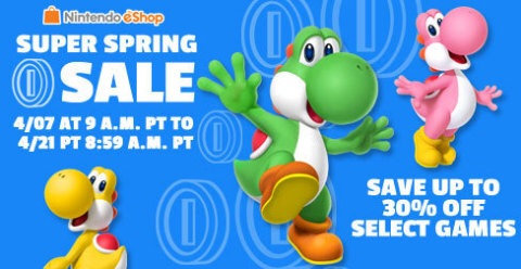 Spring into savings on Nintendo eShop with the Super Spring Sale! Save up to 30 percent off select games in Nintendo eShop starting at 9 a.m. PT on April 7 until 8:59 a.m. PT on April 21.(Graphic: Business Wire)
