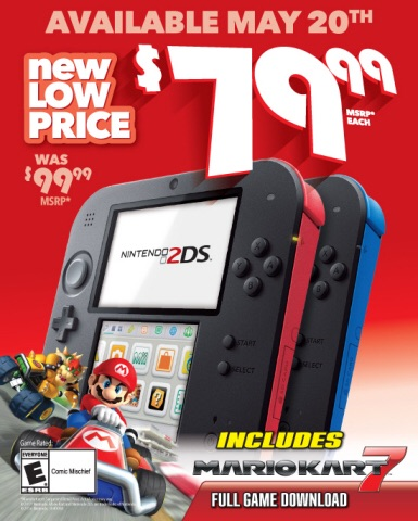 On May 20 , the Nintendo 2DS system will drop to a suggested retail price of $79.99, making the new value price even more appealing for parents who are looking for an entry-level gaming system for their young gamers. (Photo: Business Wire)
