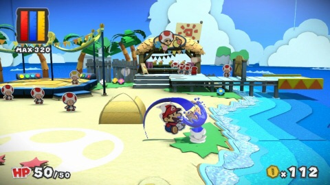 In Paper Mario: Color Splash, Mario and friends arrive on Prism Island to solve the mystery surrounding Toad characters that have lost their color. (Graphic: Business Wire)