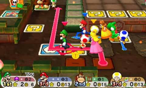 "Mario Party Star Rush's main mode, ""Toad Scramble,"" uses a new open style of map that allows up to four players to move around freely instead of linear space movements. (Graphic: Business Wire)"