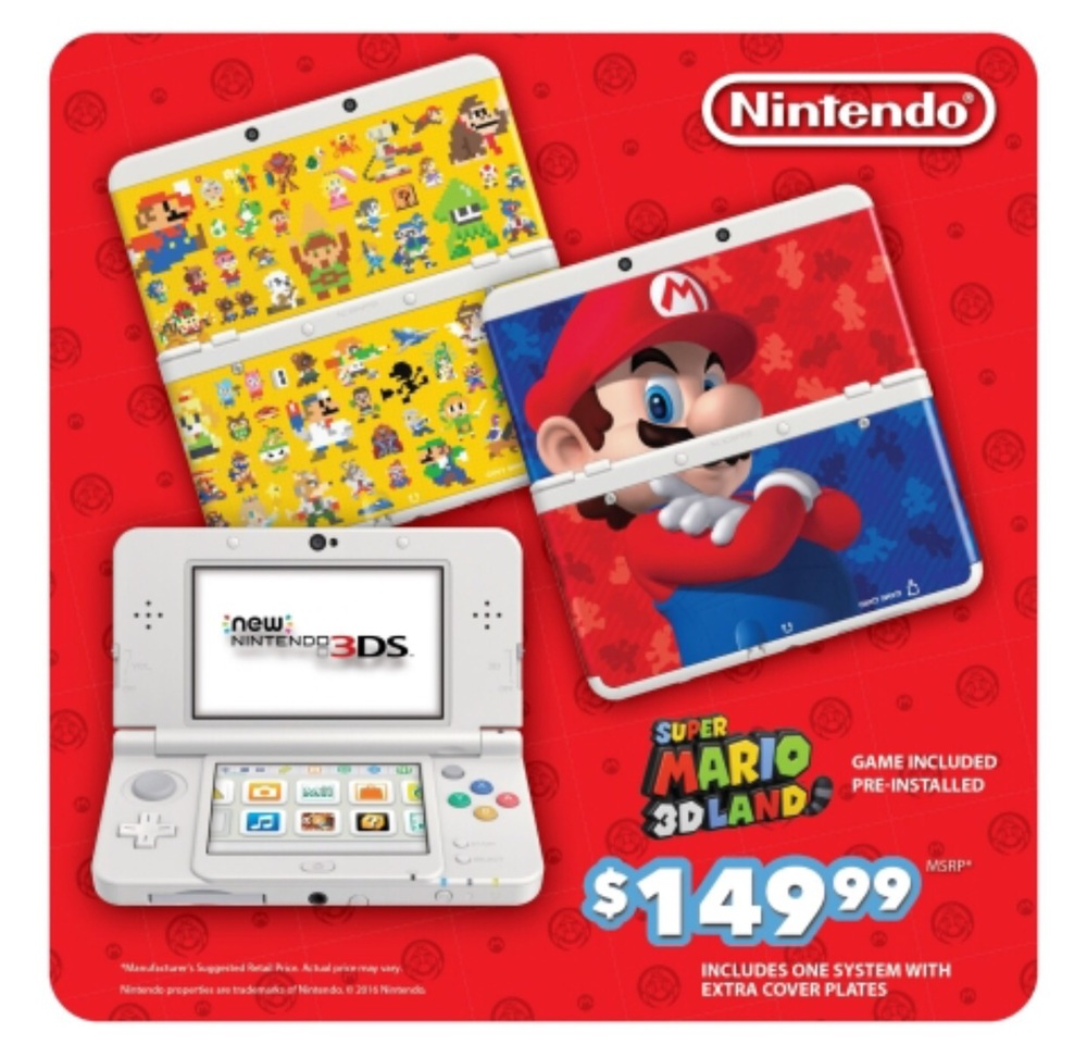 On Aug. 26, a New Nintendo 3DS bundle that includes the system, the wildly fun Super Mario 3D Land game pre-installed and two extra interchangeable Mario-themed cover plates (one inspired by Mario and one featuring 8-bit renditions of classic Nintendo characters) will go on sale exclusively at Walmart and Target stores at a low suggested retail price of $149.99. (Graphic: Business Wire)