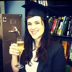 Dr. Bauernschmidt after her dissertation defense