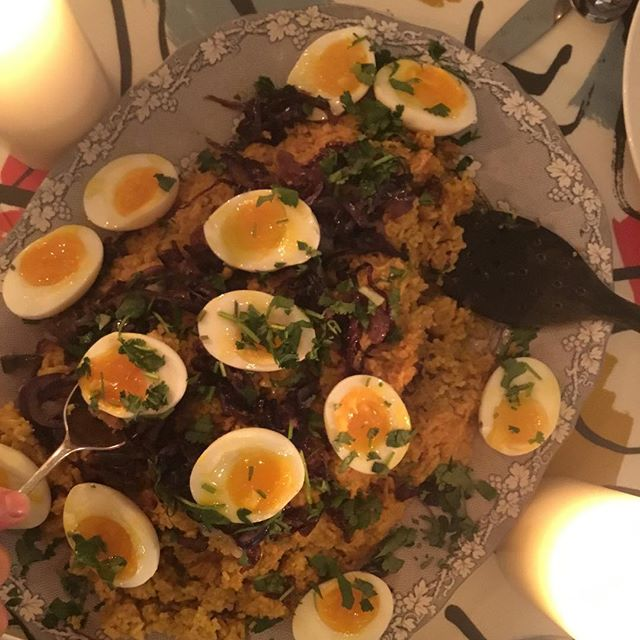 This kedgeree was supper a couple of nights ago. It started out being a very different version when Nellie was cooking!!!#rescuemission