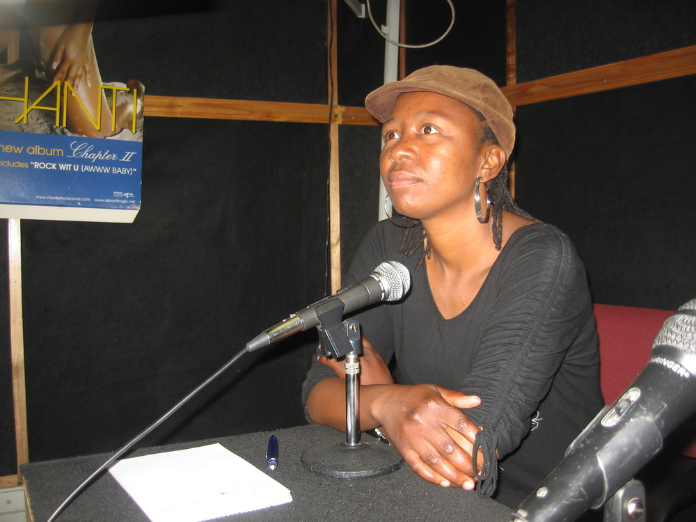 Papali Monyake doing radio announcements for the auditions.