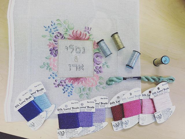 Our favorite part | choosing the perfect colors together with our customers to make sure your project matches what you have in mind #project #diy #learnhow #pillow #handmade #calming #needlepoint #hobby #canvas