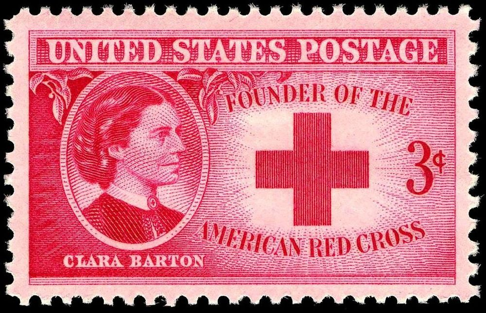 Image of Clara Barton commemorative stamp, issue of 1948. Image Source: Wikimedia Commons/ U.S. Post Office