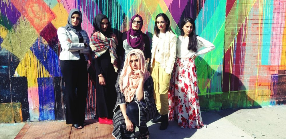 Amani Al-Khatahtbeh (front). From left to right (back) -- Halimah Elmariah, Sara Abozed, Safaa Khan, Shanzay Farzan, Zoha Qamar for Teen Vogue.