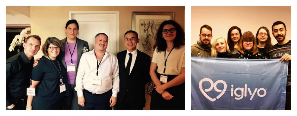 (Left) Euan Platt,  Executive Co-ordinator meeting with UN Independent Expert on Sexual Orientation & Gender Identity, ILGA World Conference, Bangkok, Thailand. (Right) IGLYO's Executive Board 2017