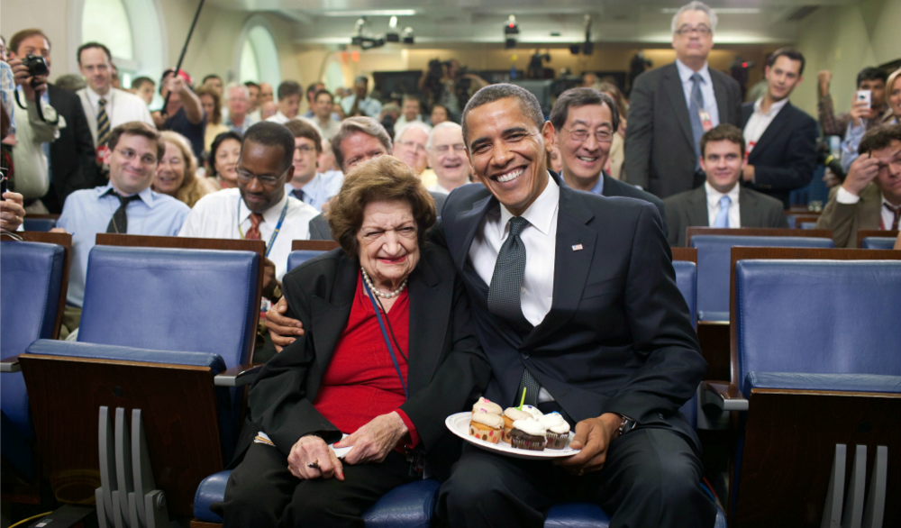 Helen Thomas in White House Press Room on her 89th birthday in 2009 with President Barack Obama. Credit: Wikimedia