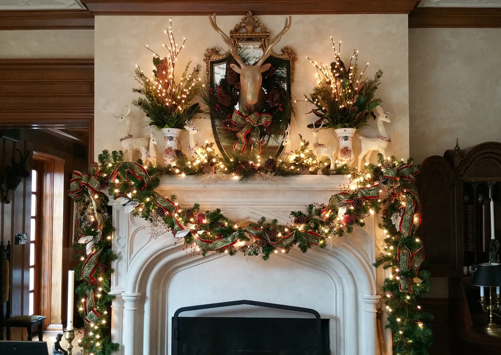 GASP... the richness of the ribbons and lights... we just love this jeweled mantel.