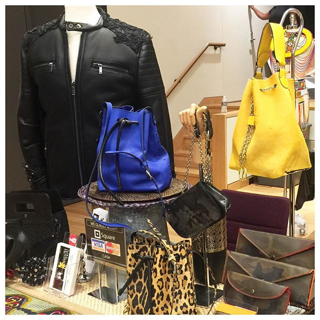 New products. FW2018. We don't showcase often, but when we do, we turn up. A pic from a few weeks back. #fashion #fw18 #leather #ootd #emergingdesigner #totebag #bucketbag #yellow #animalprint #camo #camoflauge #black #allblackeverything #matteblack #moto #motojacket #motorcycle #motorcyclejacket #flower #custom #jeweled @geo_nyc