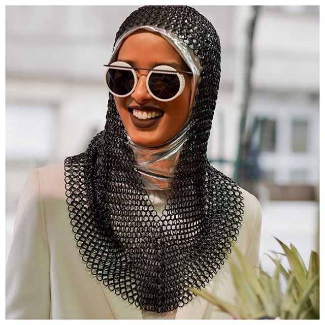 WomenCrushWednesday Totally and completely transfixed with Rawdah Mohamed and her badass modest fashions, she killing the game right now, 100% style slayer. #modestfashion #modeststyle #white #hijab #scarf #headwraps #chainmail #leather #sunglasses #shades #sunnies #ootd #cream #jacket #nyfashion @rawdis