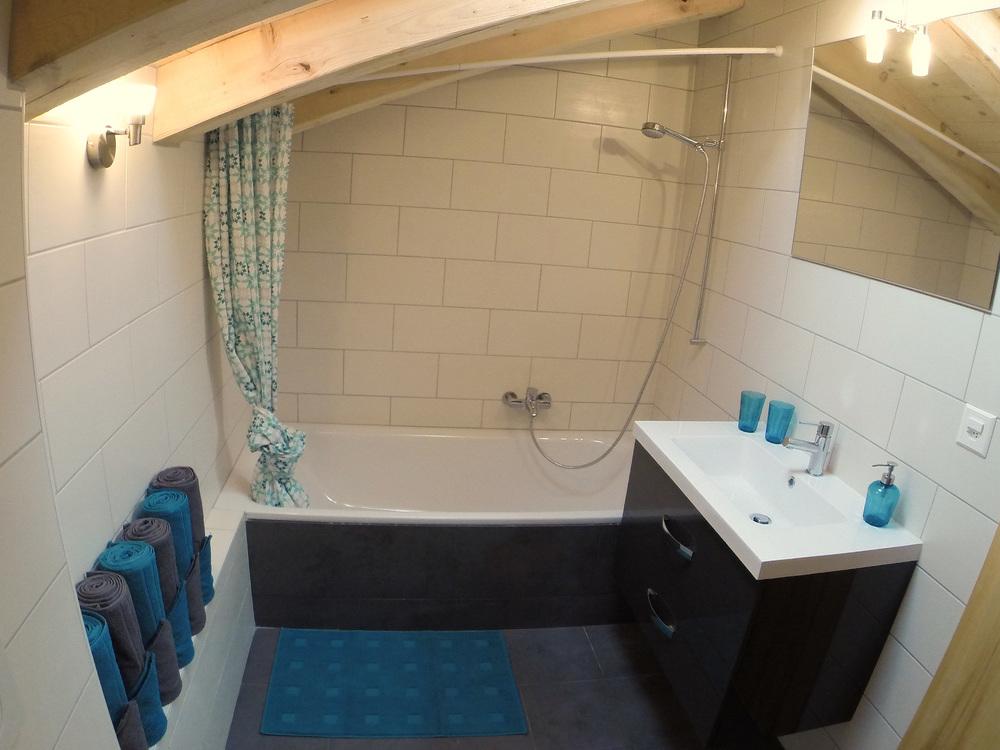 Bathroom A: Toilet and bathtub