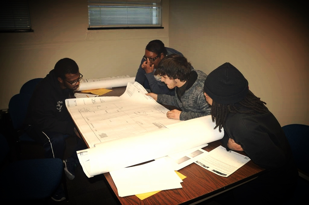 Students Reading Blueprints