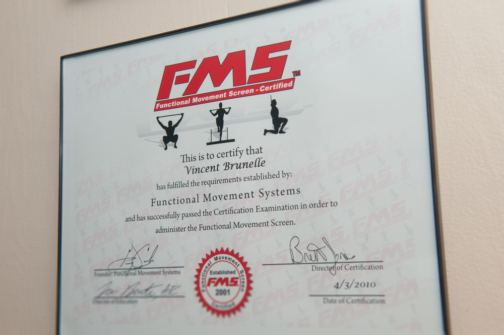 Dr. Brunelle has completed level 1 of FMS training and is working towards level 2.