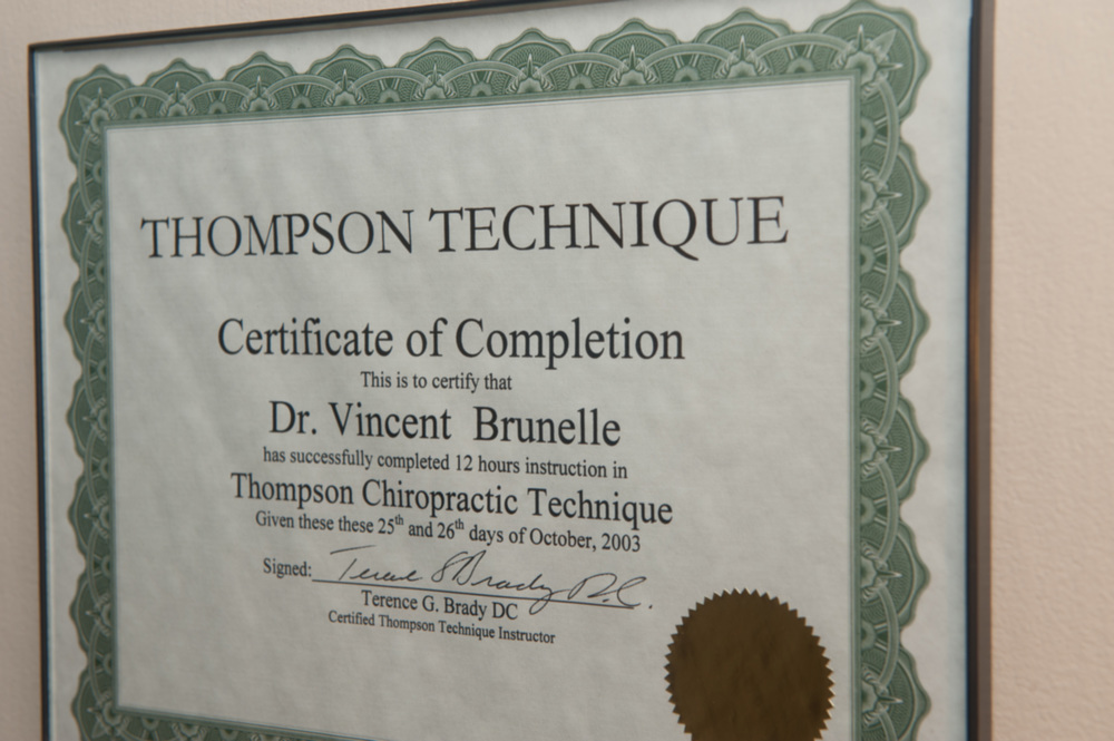 Dr. Brunelle has completed the Thompson Technique for chiropractic care.