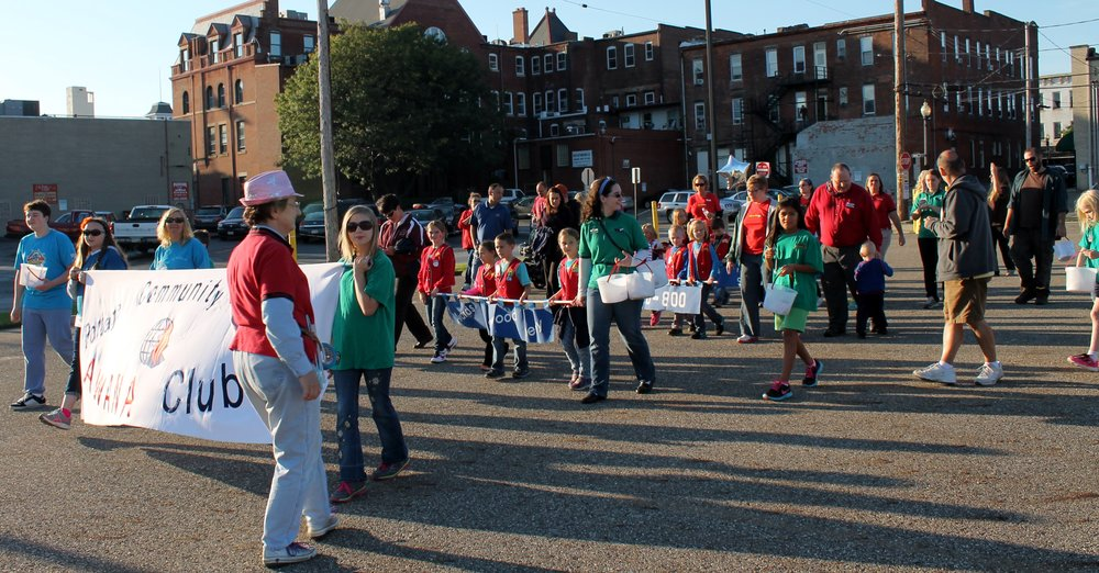 Our Awana kids club marching in the Ravenna Balloon-a-Fair children's parade
