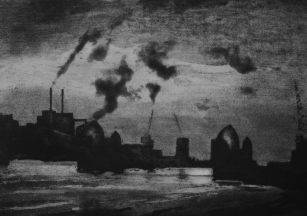 Nick Richards,  Thames Barrier . Etching. (Thames-Side Print Studio)