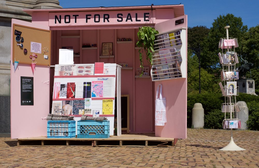 A two week installation in Prospect Park, BK by Girl on Girl Collective. Not for Sale is  newsstand filled with the art work of 100+ female identifying artists from all over the world. None of the objects are available for monetary exchange, instead we ask for conversation as currency. In doing we replace a system of supply and demand with one of Intimacy and consent.