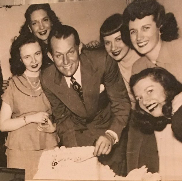 "Happy Birthday to Vaughn Monroe! Our bandleader Dan Gabel @dangabelmusic  spent a most incredible day with two of the original Moon Maids who sang with Monroe 1946-1953. Tinker (left) and Mary Jo (right) are the most lovely, kind, and gracious people he's ever met. Their love of Music and of each other (friends since 4th grade) is inspiring and humbling. The third photo is from our dear friend Cathy Norton who placed flowers at Monroe's grave today in honor of his birthday. The music plays on! Keep ""Racing with the Moon..."" 🌙 . #friends #vaughnmonroe #musicisforalifetime #moonmaids #bigbandsareback"