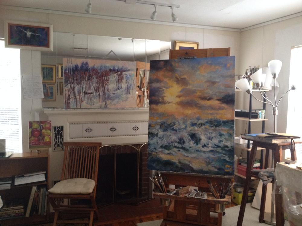 Partial view of my studio, with Symphony in Gray and Gold on the easel.