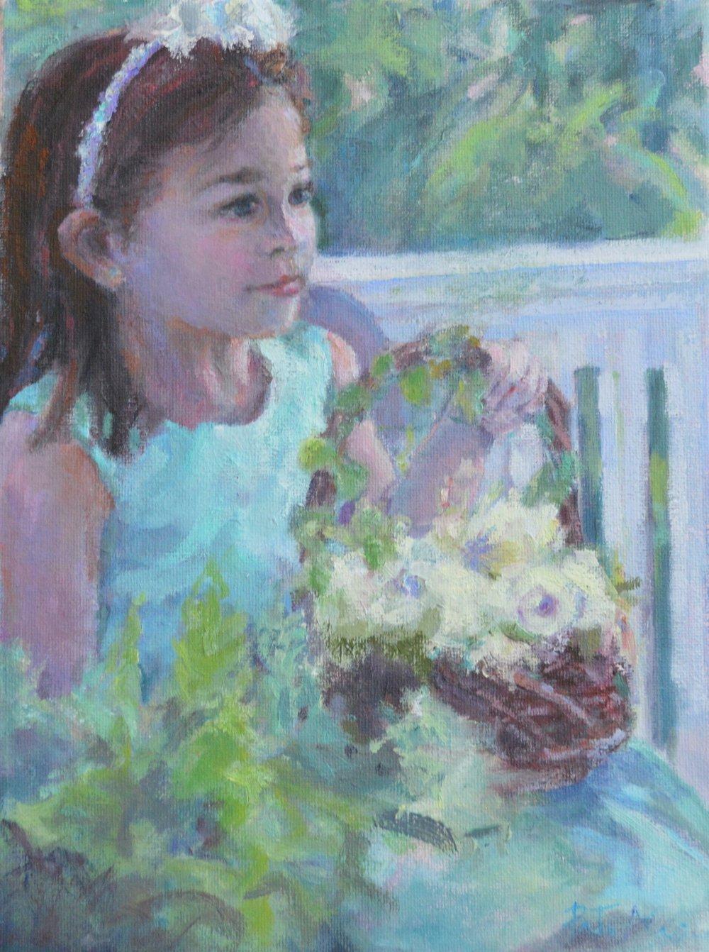 Flower Girl - oil - 9X12
