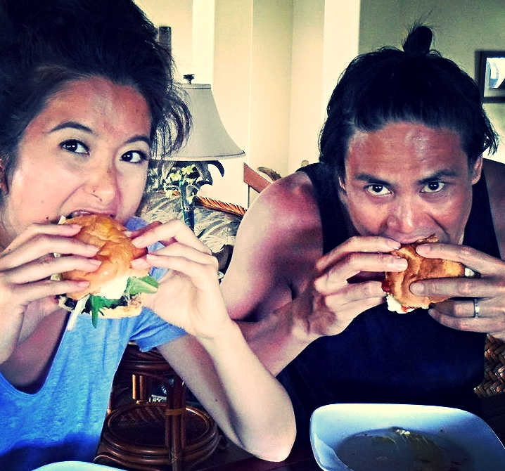 Eating homemade burgers with fried egg & bacon with sis-in-law Monica Chiang