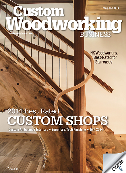 June 2014 - Featured Cover of Custom Woodworking Business Magazine.