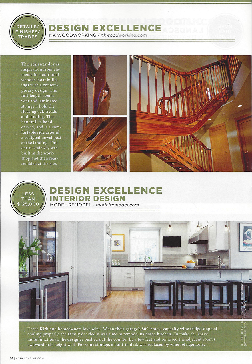 NK Woodworking REX awards winner in 425 magazine