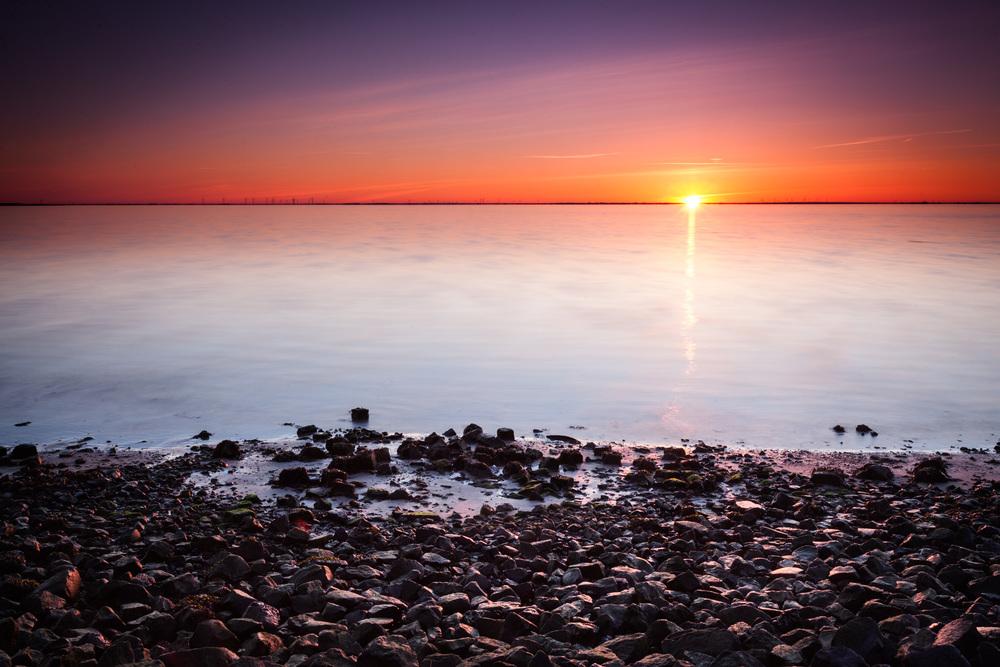 Sonnenaufgang am Hafen von Wyk auf Föhr