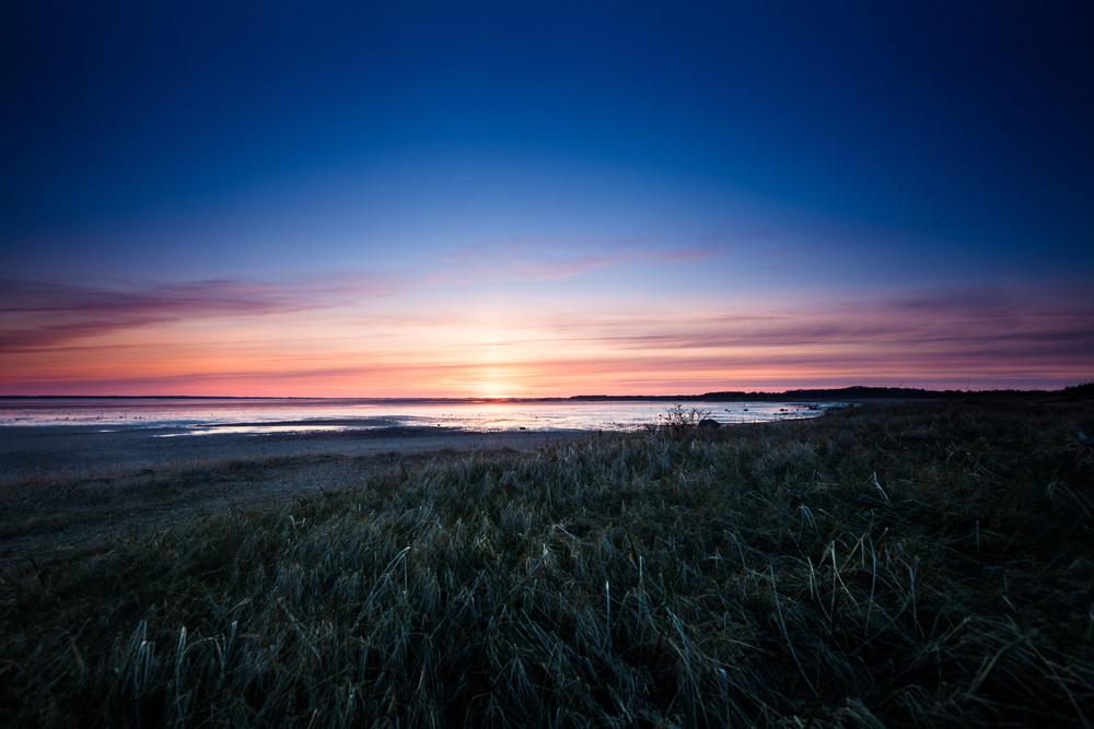Sonneuntergang über der Godelmündung