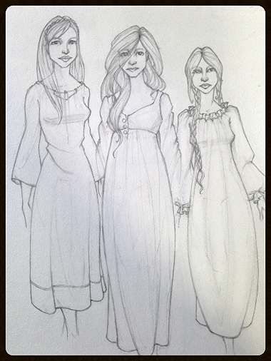 Sisters character concept sketches for a WIP.  My focus was on making them look related... and clothes.  I love drawing clothes.  ^_^