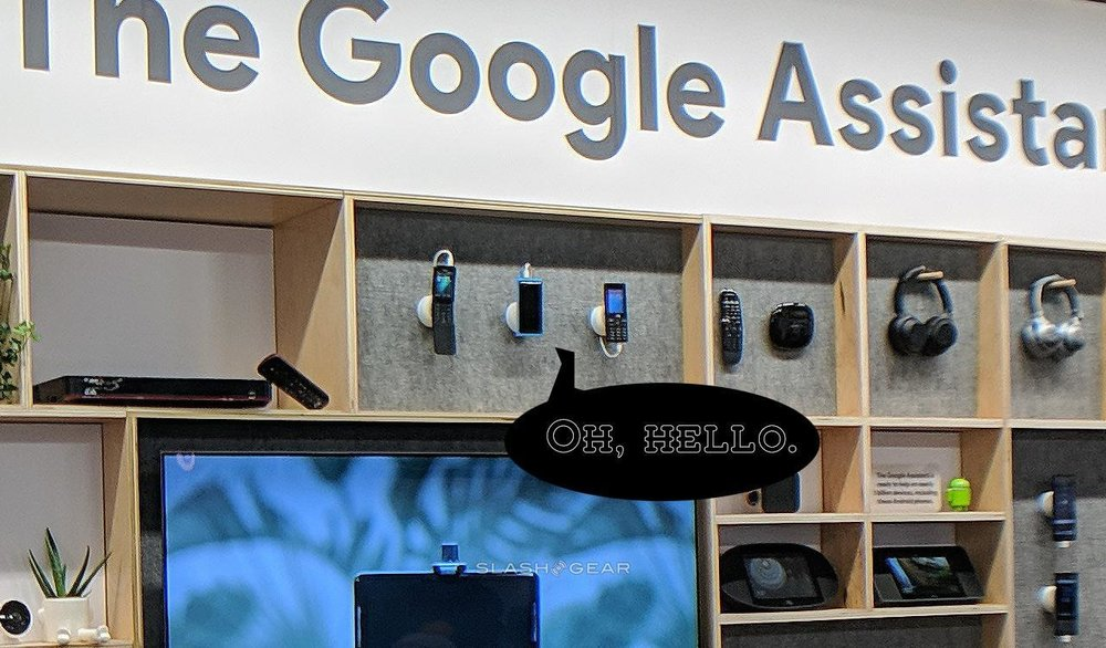 The image above was the ONE photo we had of a product (a tiny blue Nokia phone) that was placed at a Google booth at the 2019 Consumer Electronics Show (CES 2019). The photo did not center on the product at all, and this was as large as the image got before getting too low-quality for hero image use. As such, I used the biggest-possible version of the photo and called out the phone with a speech bubble.
