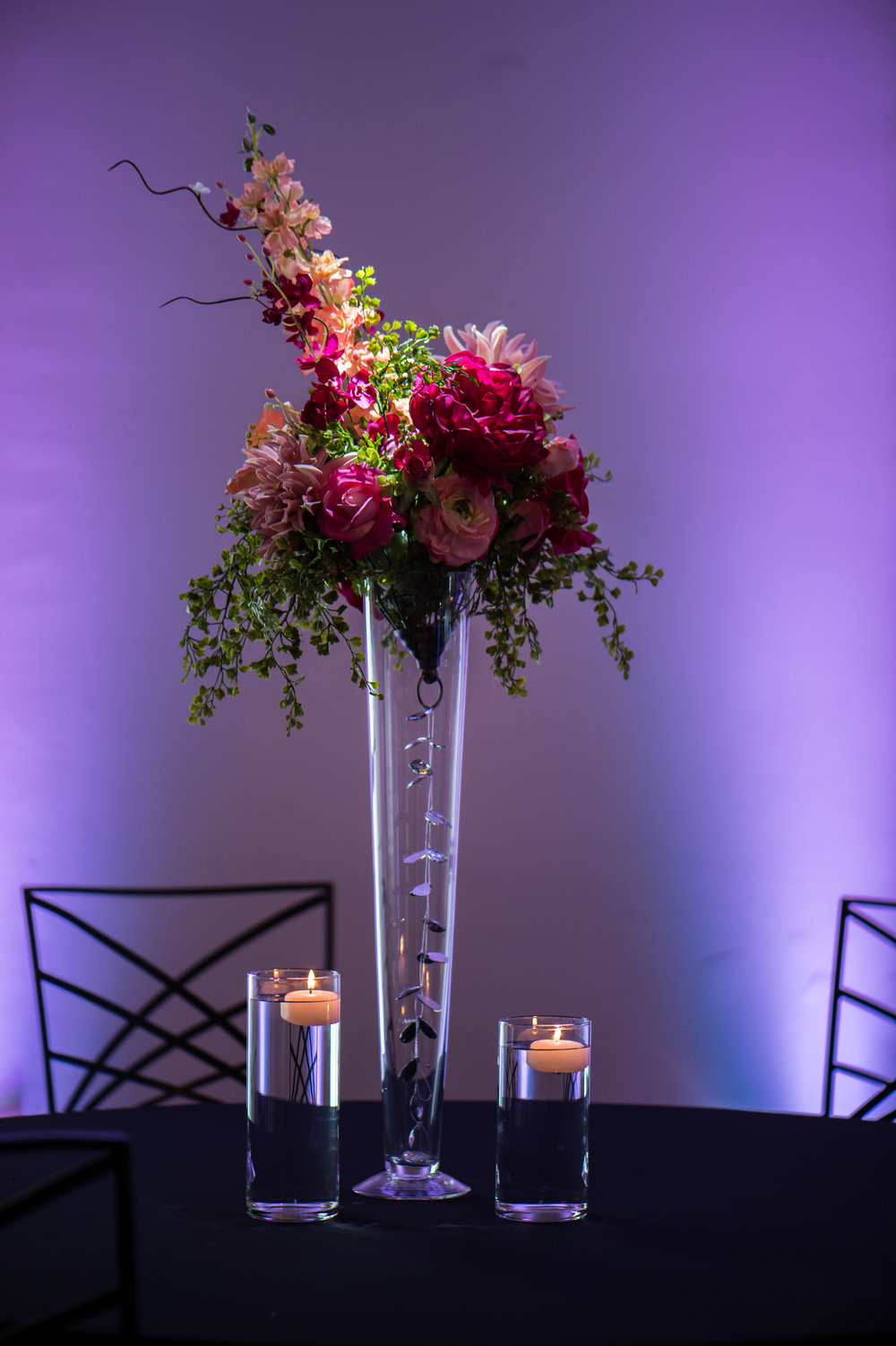 Tall Pink with Greenery Floating Candles Bling.jpg