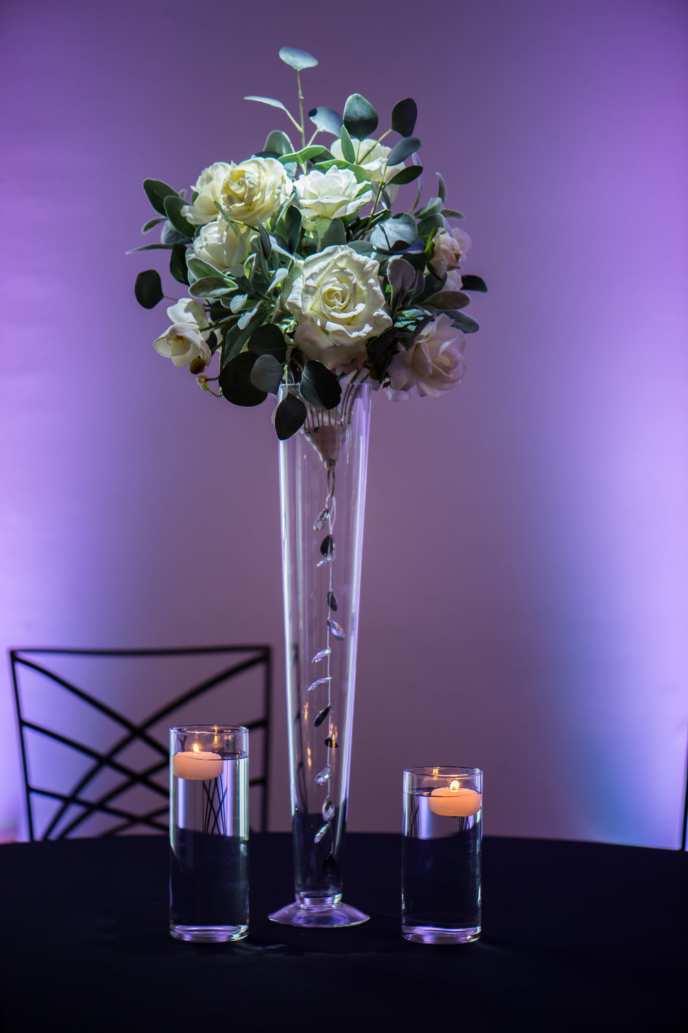Tall White with Eucalyptus Floating Candles Bling.jpg