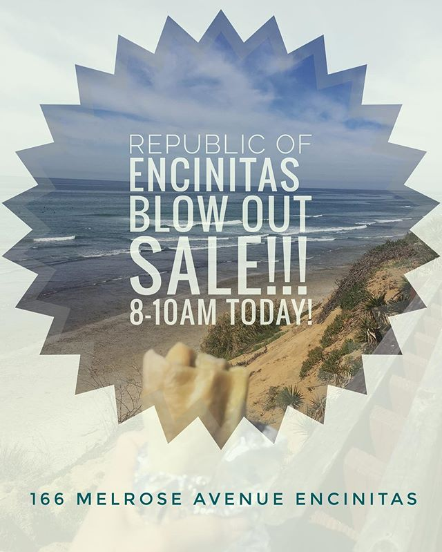 Come check out our blowout sale of Republic of Encinitas goodies! Making room for our new summer line, take advantage of these hot deals. Today only from 8 to 10 AM at 166 Melrose Ave. in Encinitas. Free stickers for all! KEEP IT RAD! #republicofencinitas #leucadia #encinitas #cardiffbythesea