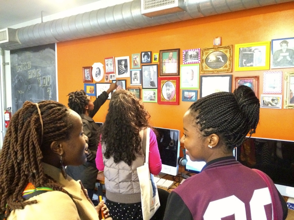 Alumnae tour Wall of Inspiration at Bay Area Video Coalition